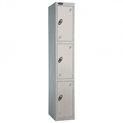 Probe 3 Door High Metal Locker Type L Electronic Lock Silver Grey