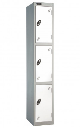 Probe 3 Door Back Pack Size Storage Locker Key Lock white doors and silver body