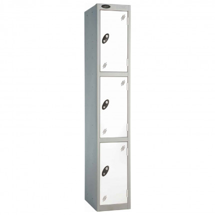 Probe 3 Door High Metal Locker Type L Electronic Lock White