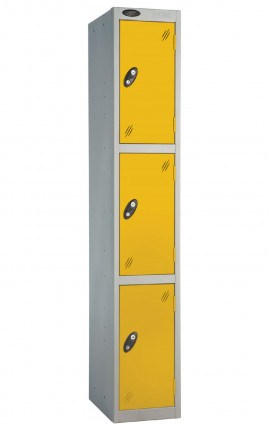 Probe 3 Door Back Pack Size Storage Locker Key Lock yellow doors and silver body