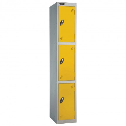 Probe 3 Door High Steel Storage Locker Padlock Hasp Lock - yellow door