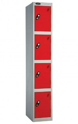 Probe 4 Door Locker 1780mm high red doors and silver body