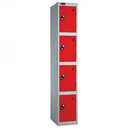 Probe 4 Door High Metal Locker Type L Electronic Lock Red