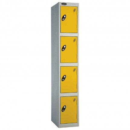 Probe 4 Door High Steel Storage Locker Padlock Hasp Lock - yellow door