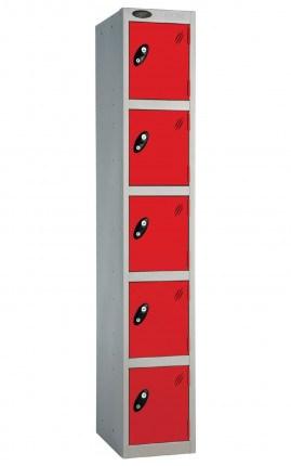 Probe 5 Door Locker 1780mm high red doors and silver body