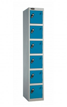 Probe 6 Door Key Locking Personal Storage Steel Locker blue doors and silver body