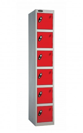 Probe 6 Door Key Locking Personal Storage Steel Locker red doors and silver body