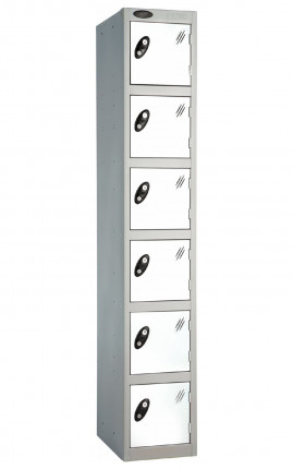 Probe 6 Door Key Locking Personal Storage Steel Locker white doors and silver body