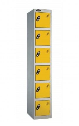 Probe 6 Door Key Locking Personal Storage Steel Locker yellow doors and silver body