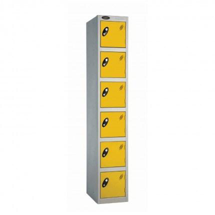 Probe 6 Door High Steel Storage Locker Padlock Hasp Lock - yellow door