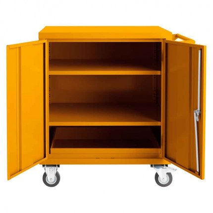 Mobile Flammable COSHH Cabinet 900x900x600 - Bedford 81F996 - Doors Open
