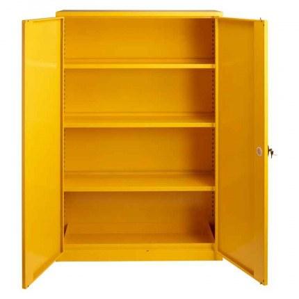 Wide Flammable Welded COSHH Cabinet - Bedford 88F824 - Doors Open