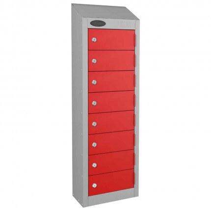 8 Door Key Locking Mobile Phone Locker - Probe Wallet - Red