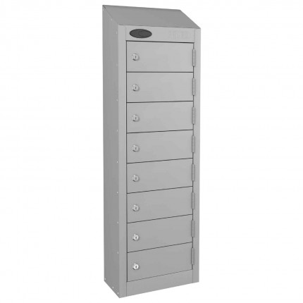8 Door Key Locking Mobile Phone Locker - Probe Wallet - Silver Grey