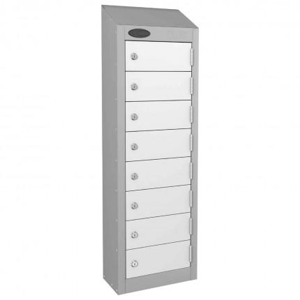 8 Door Key Locking Mobile Phone Locker - Probe Wallet - White