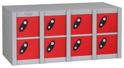 Probe MINIBOX 8 Door Key Locking Phone Locker red