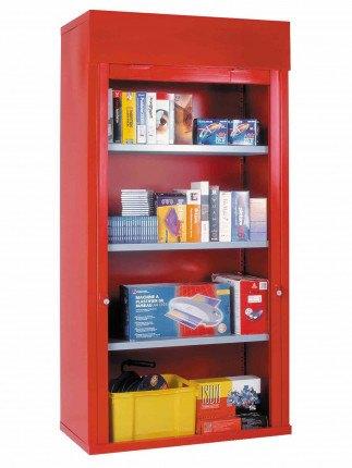 Steel Roller Shutter Door Cabinet 3 Shelves 200x100x50 - Bedford 90215A Red