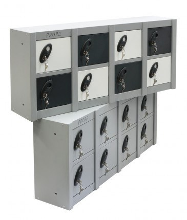 Probe MINIBOX 8 Door Electronic Locking Phone Locker - showing 2 x Mini 8 Door lockers