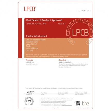 Dudley Harlech Lite S2 Home Safe  -LPCB  testing certificate