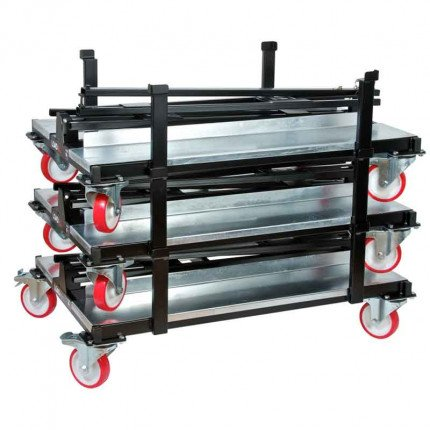 Armorgard LoadAll Plasterboard MDF Collapsible Stacking Trolley - stacked