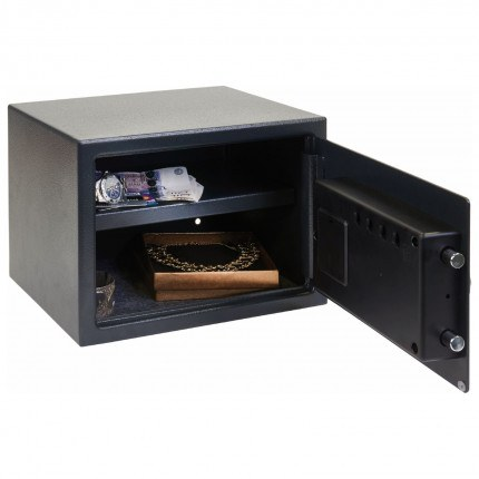 Chubbsafes Air 15E fully open showing inner base carpet and removeable shelf