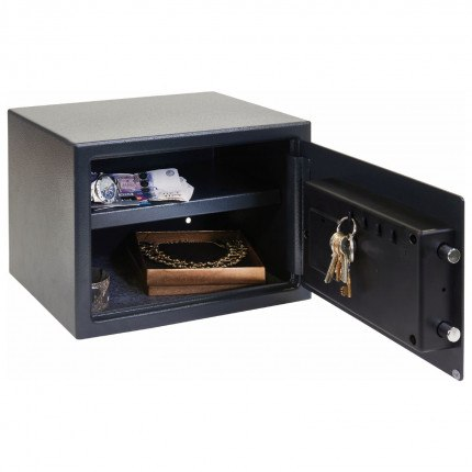Chubbsafe fully open safe can see adjustable shelf and key hooks