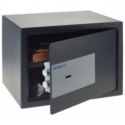 Chubbsafes Air 15K door slightly open showing 2 locking bolts on door and inner base carpet