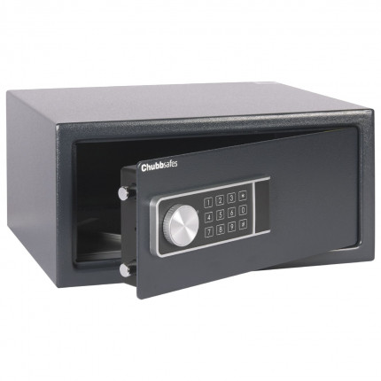 Chubbsafes Air Laptop door slightly open showing 2 door bolts, key hooks supplied