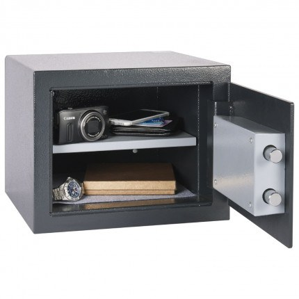 AlphaPlus 2K fully open showing adjustable shelf with a internal height of 200 millimetres