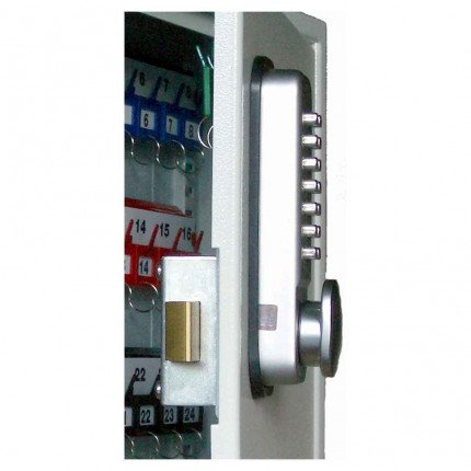 Key Vault Push Button Lock fitted to the Securikey KVP024PB showing the slam shut mechanism