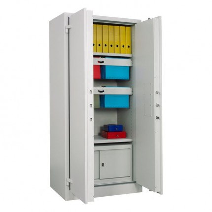 Chubbsafes Archive 640 Large Fire Security Cabinet - showing Lateral suspension files - doors open with files
