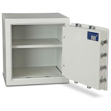Key Locking Burton Eurovault Aver Grade 1 Safe with door wide open showing internal shelf