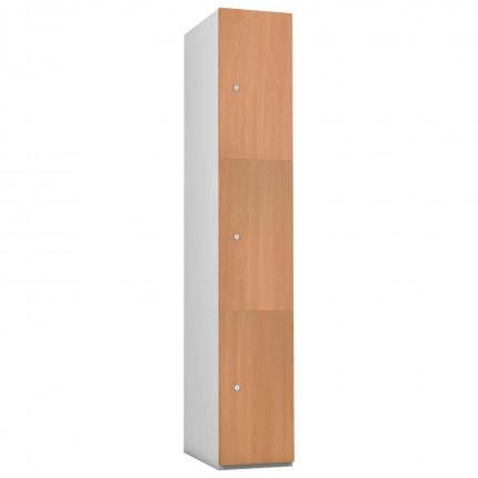 Probe 3 Door Beech TimberBox MDF Woodgrain Door Steel Locker
