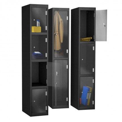 Probe 2 Door Electronic Locking Clear Vision Anti-Theft Locker - Black Body