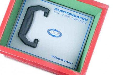 Burton Watchman 12 underfloor safe showing key locking door locked into place