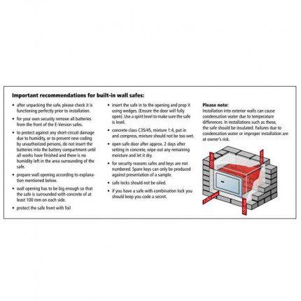 Burg Wachter Karat Wall Safe Fitting Instructions