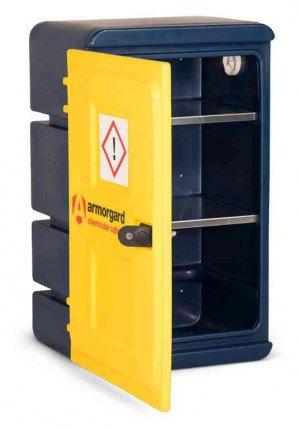 Armorgard Chemcube CCC1 Leak Proof Liquids Plastic Cabinet - door ajar