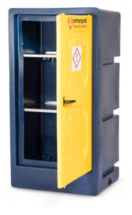 Armorgard Chemcube CCC2 Leak Proof Liquids Plastic Cabinet - door open