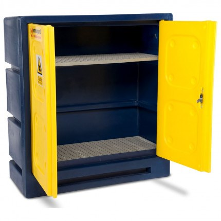 Armorgard CHEMCUBE CCC3 Plastic COSHH Cabinet showing interior shelving