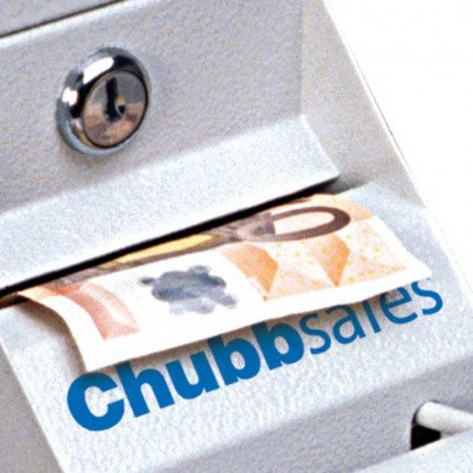 Chubbsafes CU-350 Under Counter Cash Safe close up showing bank note entry slot