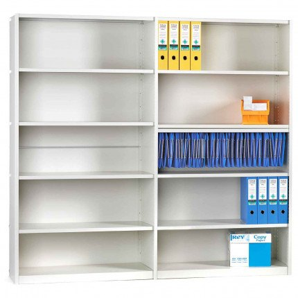Probe Ikon 6 Tier Closed Back White Shelving Unit 183Hx100Wx30D cm fitted to extension unit