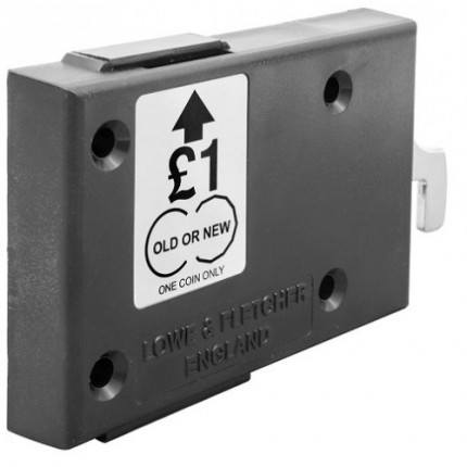 For New and Old £1 Coins - Probe Type H-1 Rectangular Black Coin Return Lock