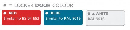 Probe Door Colour Options - Red Similar to BS 04 E53, Blue Similar to RAL 5019 and White RAL 9016
