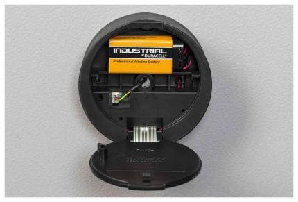 The large 87 litre De Raat Vector S2 4E Electronic lock showing batteries