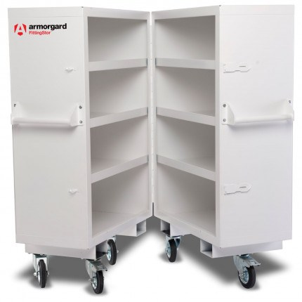 Armorgard FittingStor FC5 Heavy Duty Mobile Site Cabinet ajar