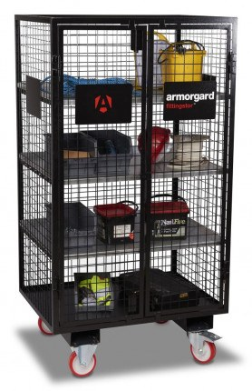 Armorgard FittingStor FC6 Wire Mesh Mobile Storage Cage with contents door closed
