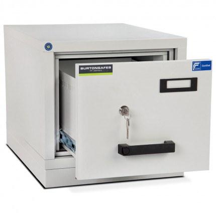Burton FF100K 1 Drawer Keylock Fire Resistant Filing Cabinet - drawer ajar