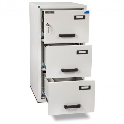 Burton FF300K 3 Key Drawer Fire Resistant Filing Cabinet - all drawers open