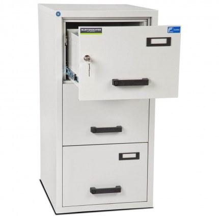 Burton FF300K 3 Key Drawer Fire Resistant Filing Cabinet - top drawer open