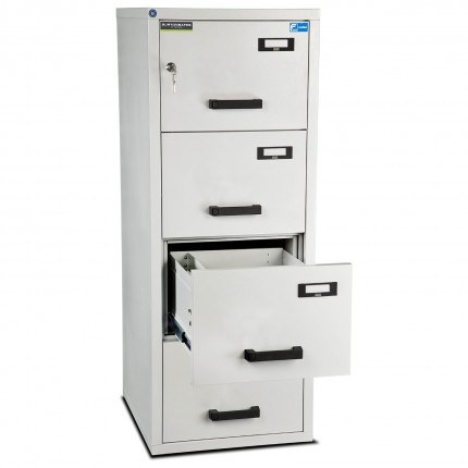 Burton 4 Dr Key Locking Fire Filing Cabinet FF400K MKII 60 mins - drawer open